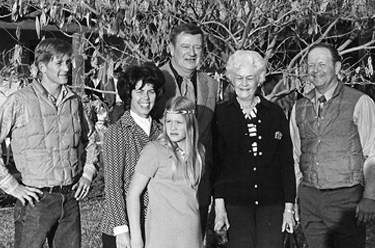 Pete, Nicky, Caroline, Ruth & Fred with John Wayne